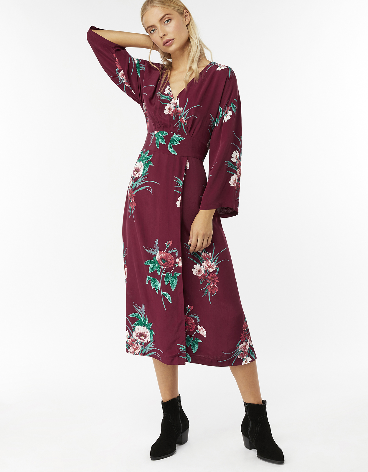 Monsoon Gloria Print Floral Wrap Dress