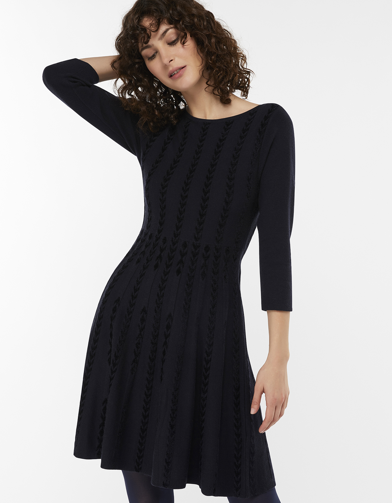 Monsoon Christie Chenille Jacquard Jumper Dress